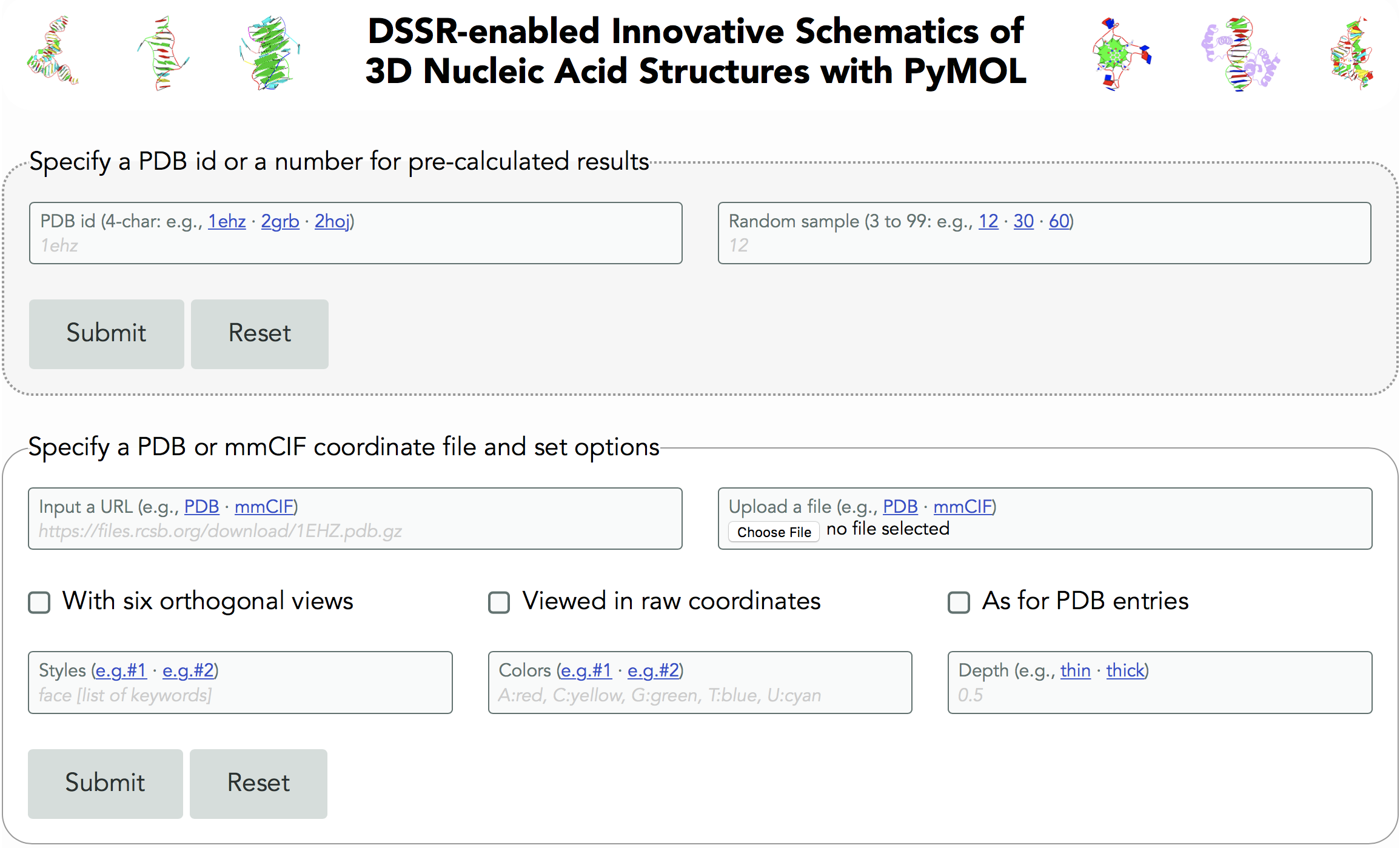 Screenshot of the homepage of DSSR/PyMOL schematics